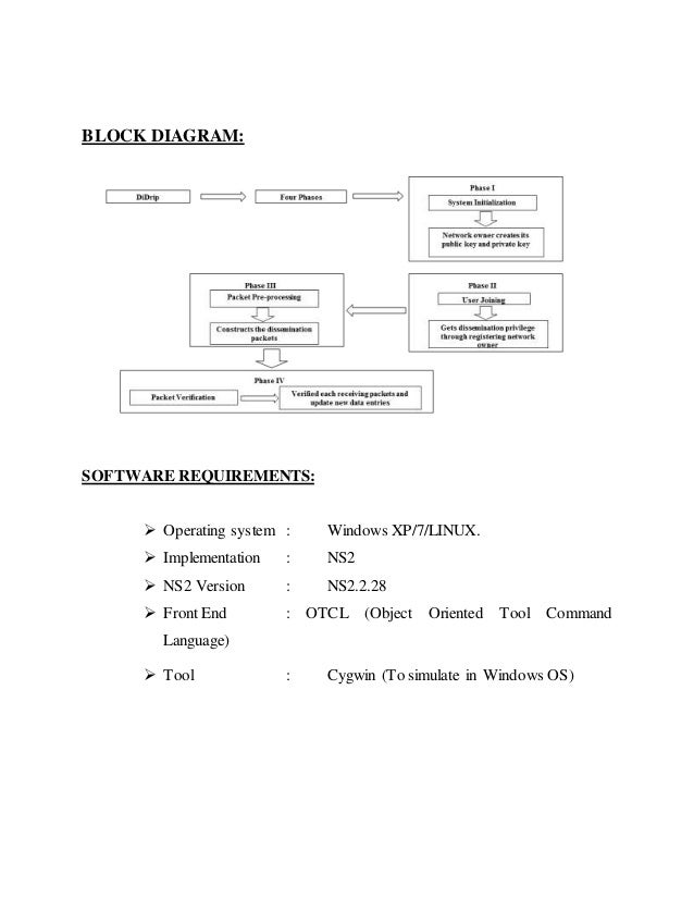 BLOCK DIAGRAM: SOFTWARE REQUIREMENTS:  Operating system : Windows XP/7/LINUX.  Implementation : NS2  NS2 Version : NS2....
