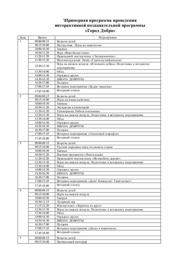 Примерная программа проведения интерактивной познавательной программы «Город Добра» День Время Мероприятие 1 09.00-09.15 В...