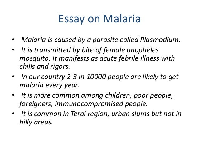 solutions to malaria essay Problem solution essays give a detailed plan: what makes a problem-solution paper different is that it gives a detailed plan for how the problem needs to be solved and argues for a specific action.