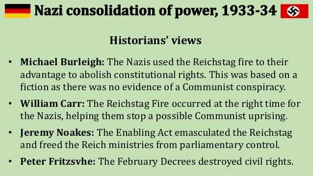 nazi consolidation of power in 1933 In january 1933 hitler became chancellor of germany and by august 1934, he had declared himself führer - the leader of germany what happened during this time that allowed hitler to take the.