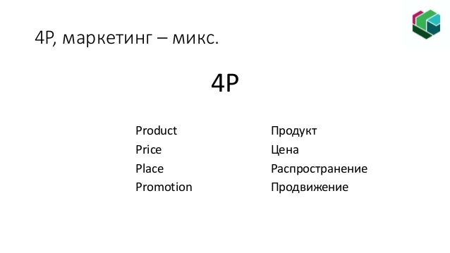 4P, маркетинг – микс. 4P Product Продукт Price Цена Place Распространение Promotion Продвижение