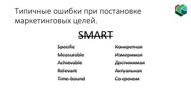 Типичные ошибки при постановке маркетинговых целей. SMART Specific Конкретная Measurable Измеримая Achievable Достижимая R...