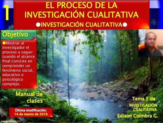 1 1www.coimbraweb.com Edison Coimbra G. Manual de clases Mostrar al investigador el proceso a seguir cuando el alcance fi...