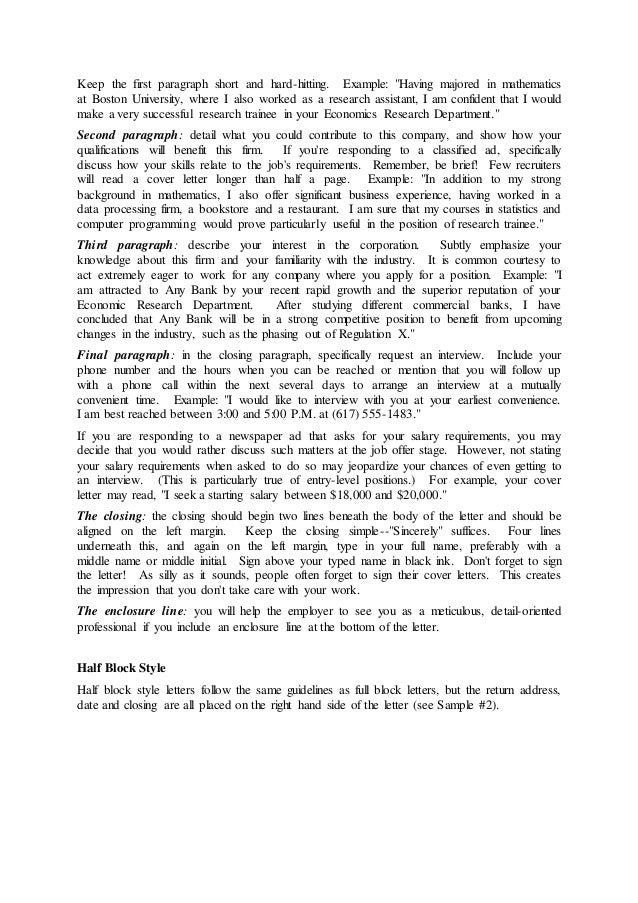 Write Properly In Order To Give A Good Impression With Examples First Paragraph Of Cover Letter