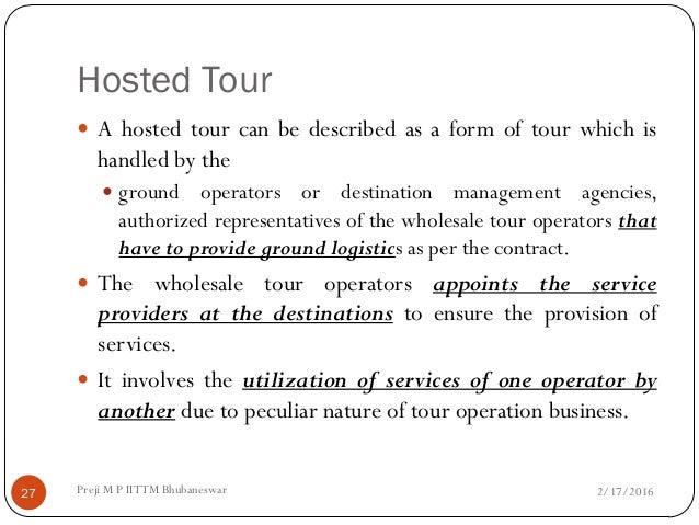 Tour Operations Management.