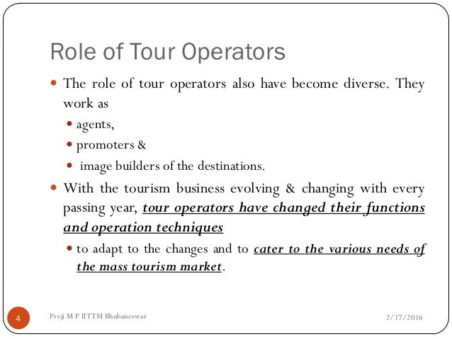 Role And Functions Of Tour Operators