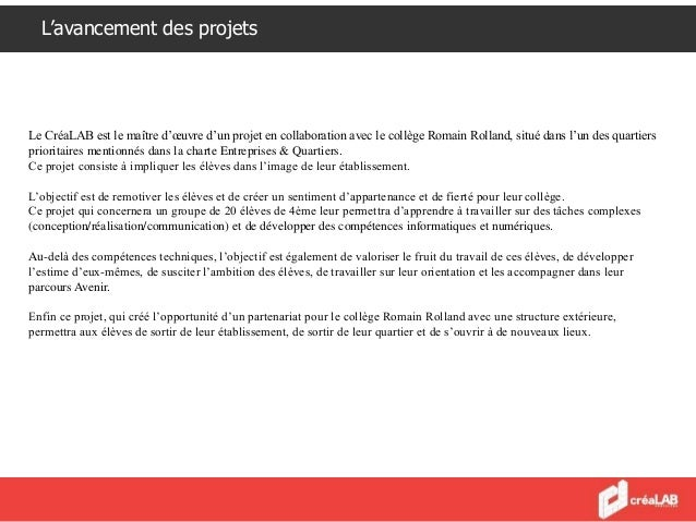 L'avancement des projets - Dans le cadre de ce projet et de ces ateliers, le CréaLAB propose un accompagnement des groupes...