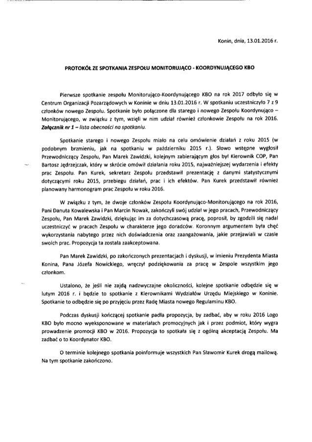 Konin,  dnia,  13.01.2016 r.   PROTOKÓŁ ZE SPOTKANIA ZESPOŁU MONITORUJĄCO - KOORDYNUJĄCEGO KBO  Pierwsze spotkanie zespołu...