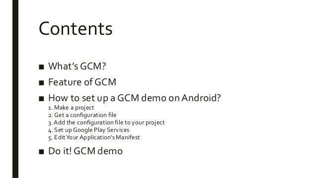 GCM demo on Android Slide 2