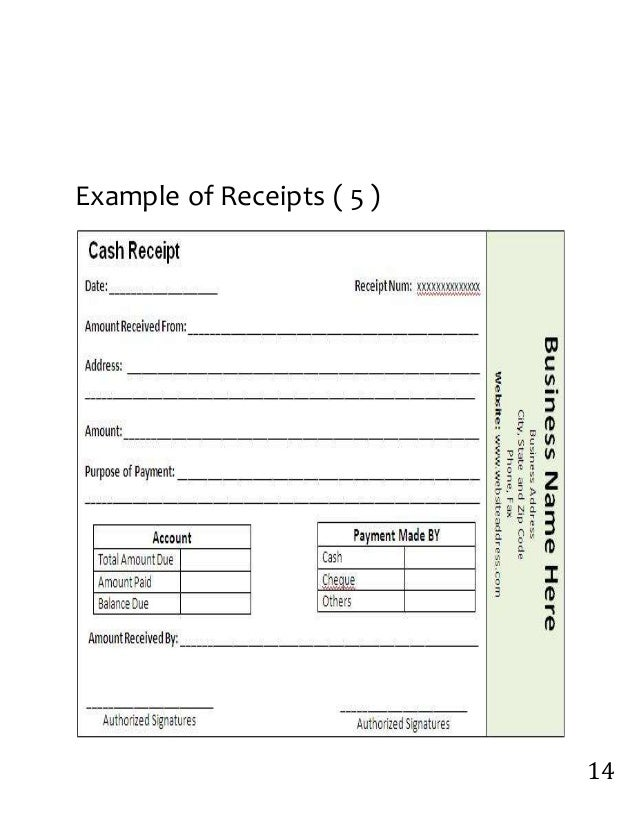 EXAMPLES OF FORMS AND RECEIPTS – Examples of Receipts