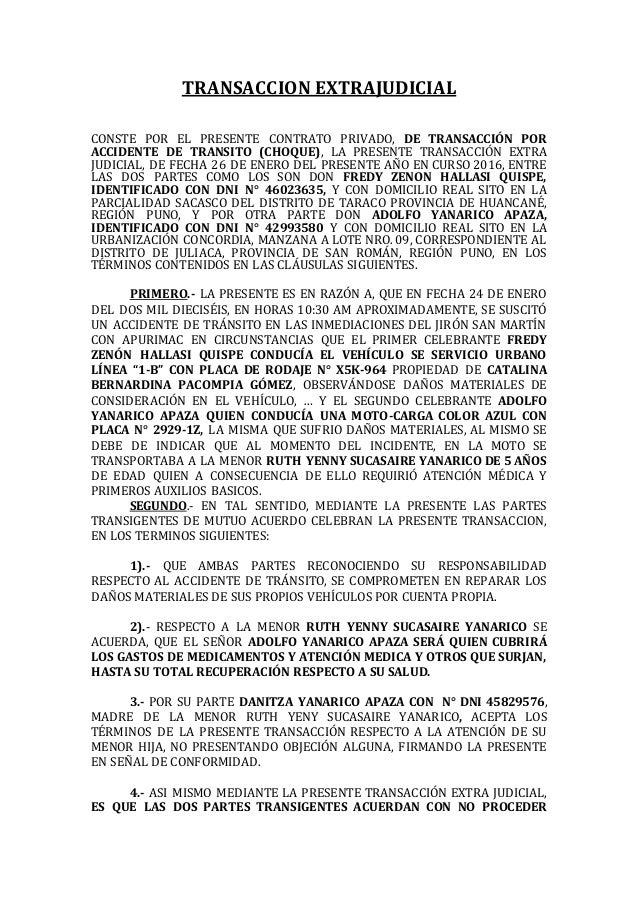 1 transaccion extrajudicial for Modelo acuerdo extrajudicial clausula suelo