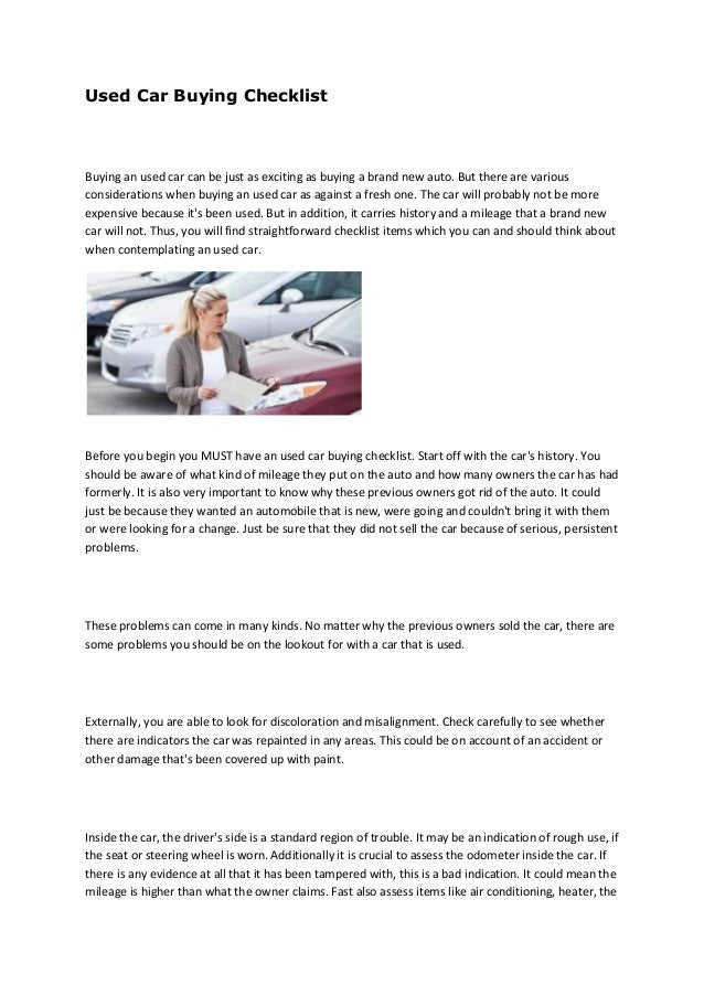 Used Car Buying Checklist >> Austin Used Car Buyer