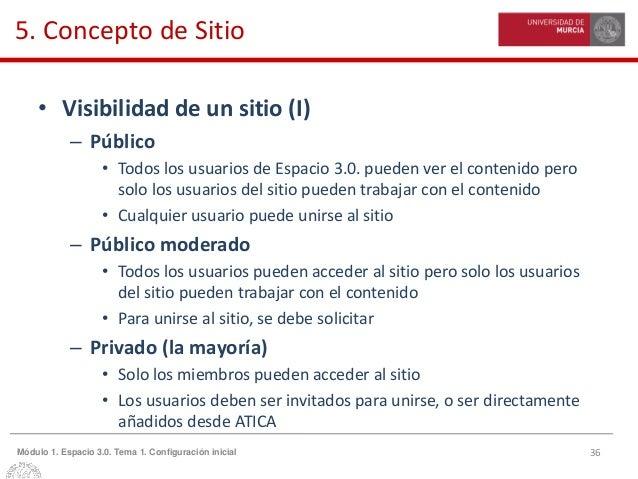 36Módulo 1. Espacio 3.0. Tema 1. Configuración inicial 5. Concepto de Sitio • Visibilidad de un sitio (I) – Público • Todo...