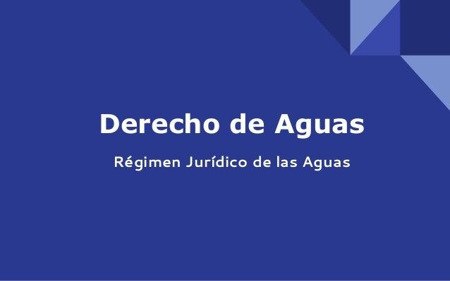 Derecho de Aguas Régimen Jurídico de las Aguas