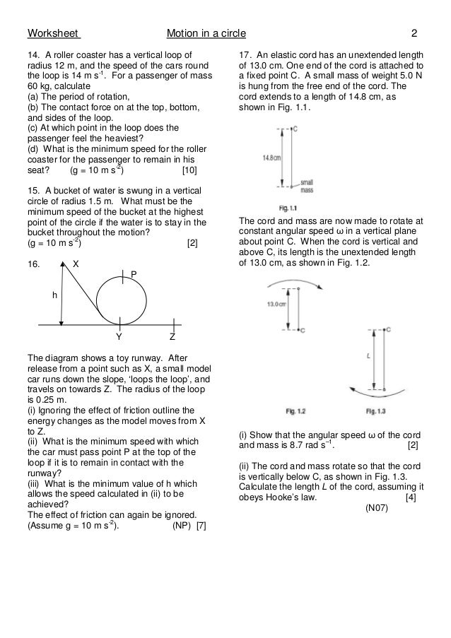 1 Motion In A Circle Worksheet A Tobve