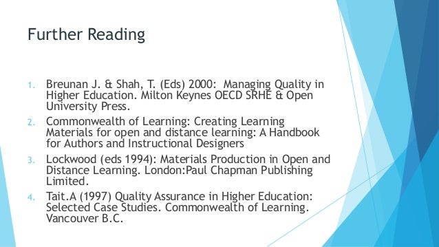 quality assurance in distance education essay Quality assurance and quality comparing two frameworks for managing quality processes in open and distance learning occasional papers in worked-based learning.