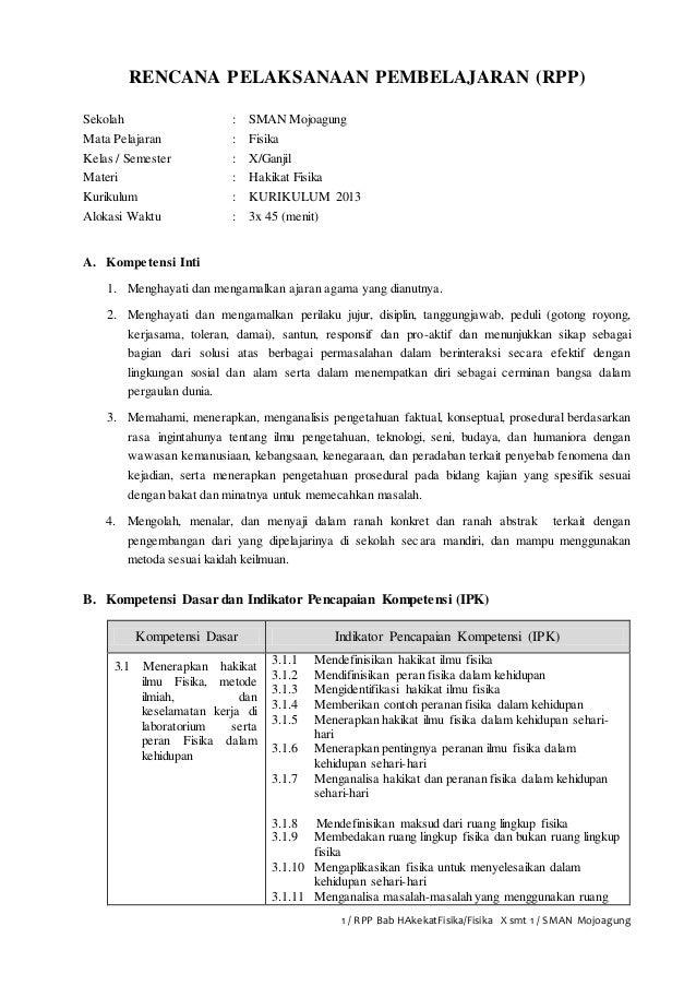 1 / RPP Bab HAkekatFisika/Fisika X smt 1 / SMAN Mojoagung RENCANA PELAKSANAAN PEMBELAJARAN (RPP) Sekolah : SMAN Mojoagung ...