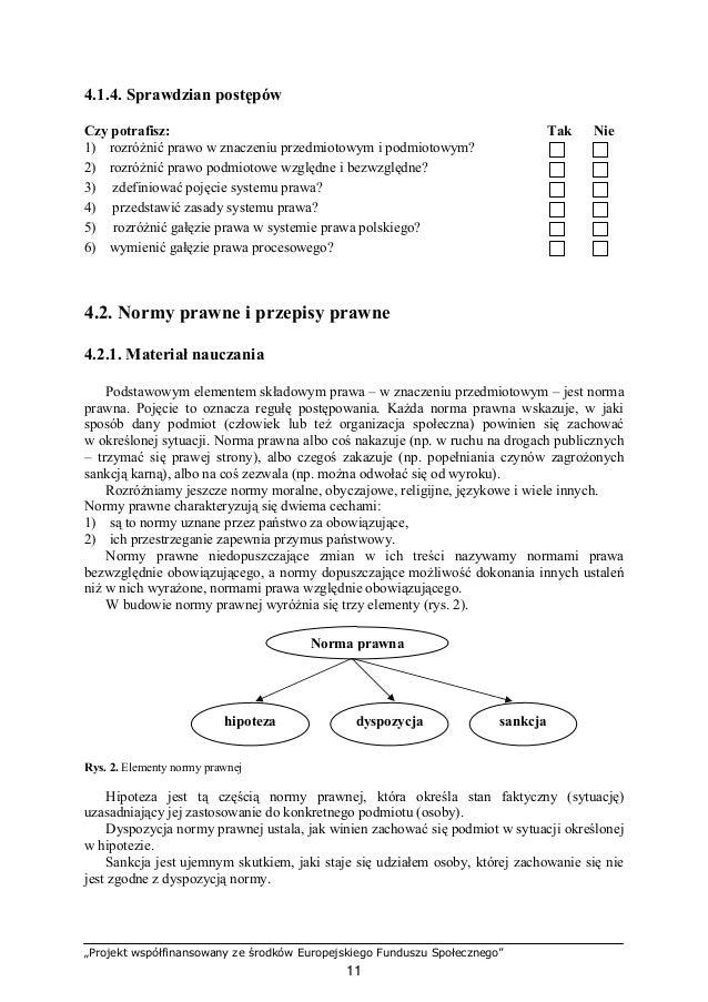 """""""Projekt współfinansowany ze środków Europejskiego Funduszu Społecznego"""" 12 Normy prawne wyrażane są w przepisach prawnych..."""