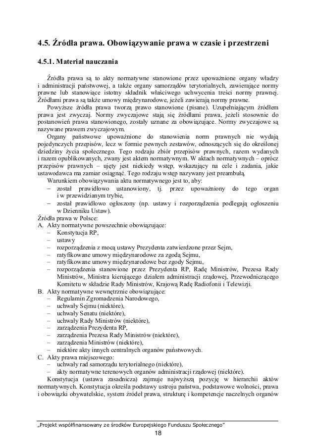 """""""Projekt współfinansowany ze środków Europejskiego Funduszu Społecznego"""" 19 państwa. W Polsce obowiązuje Konstytucja uchwa..."""