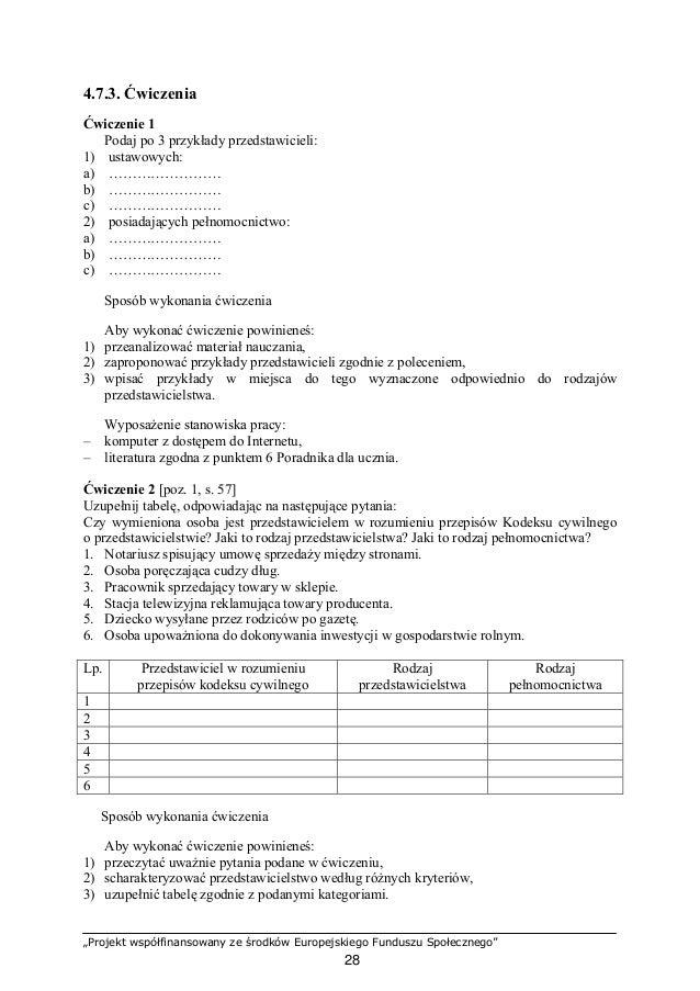 """""""Projekt współfinansowany ze środków Europejskiego Funduszu Społecznego"""" 29 Wyposażenie stanowiska pracy: – Kodeks cywilny..."""