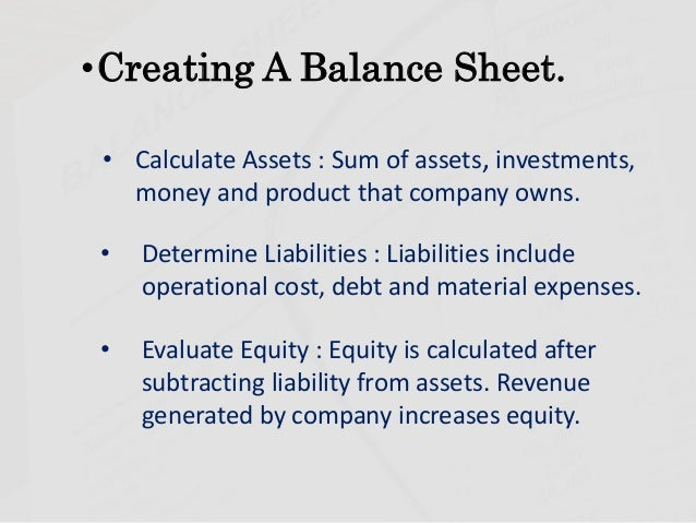 SlideShare  How To Prepare A Balance Sheet