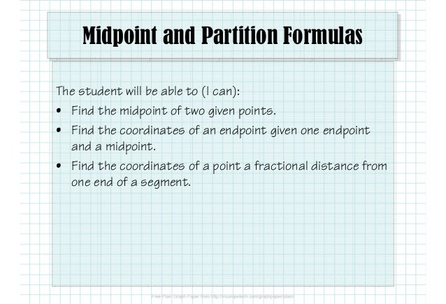 1 1 5 midpoint and partition formulas