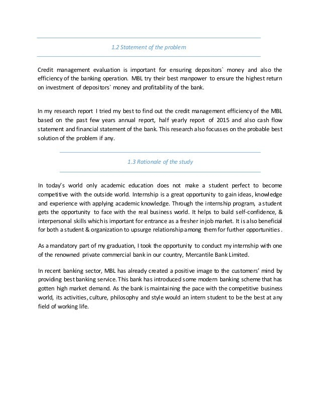 Internship report on credit management of