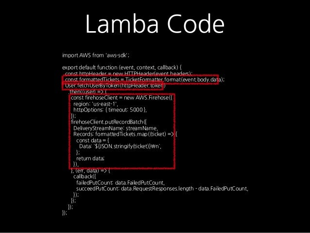Lamba Code import AWS from 'aws-sdk'; export default function (event, context, callback) { const httpHeader = new HTTPHead...
