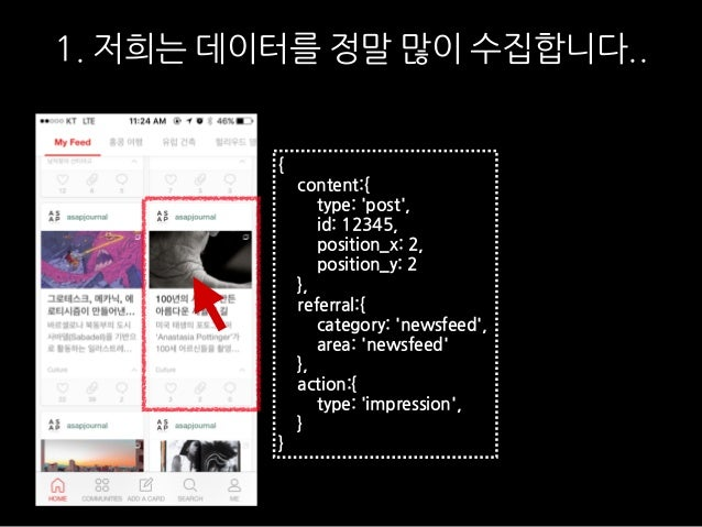 1. 저희는 데이터를 정말 많이 수집합니다.. { content:{ type: 'post', id: 12345, position_x: 2, position_y: 2 }, referral:{ category: 'newsf...