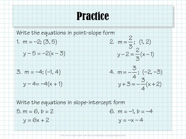 143 Slopes And Equations Of Lines