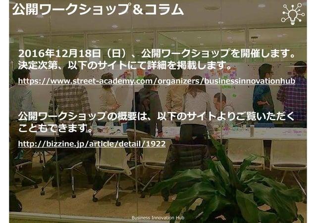 公開ワークショップ&コラム Business Innovation Hub 公開ワークショップを開催しております。詳細は以下のサイト をご覧ください。 https://www.street-academy.com/myclass/16483 翔...