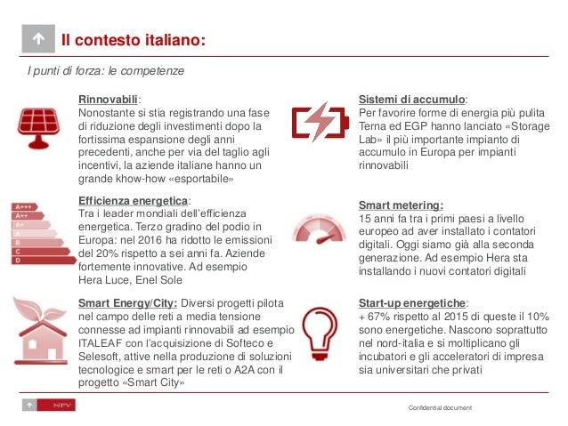 Confidential document Il contesto italiano: I punti di forza: le competenze Start-up energetiche: + 67% rispetto al 2015 d...