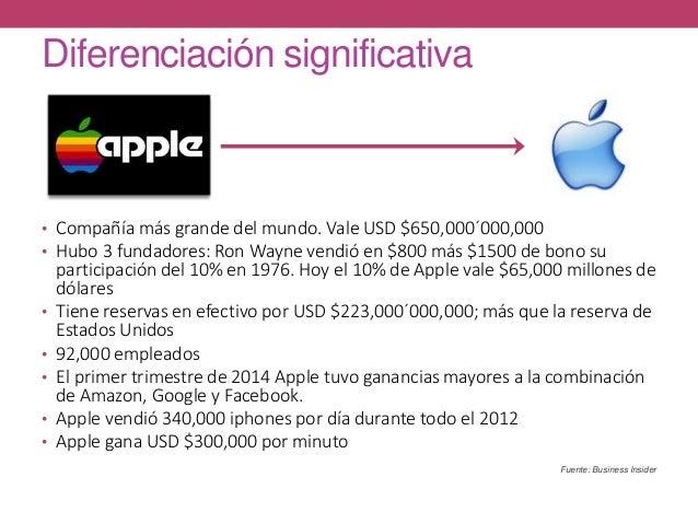 Diferenciación significativa • Compañía más grande del mundo. Vale USD $650,000´000,000 • Hubo 3 fundadores: Ron Wayne ven...