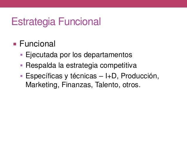 Estrategia Funcional  Funcional  Ejecutada por los departamentos  Respalda la estrategia competitiva  Específicas y té...