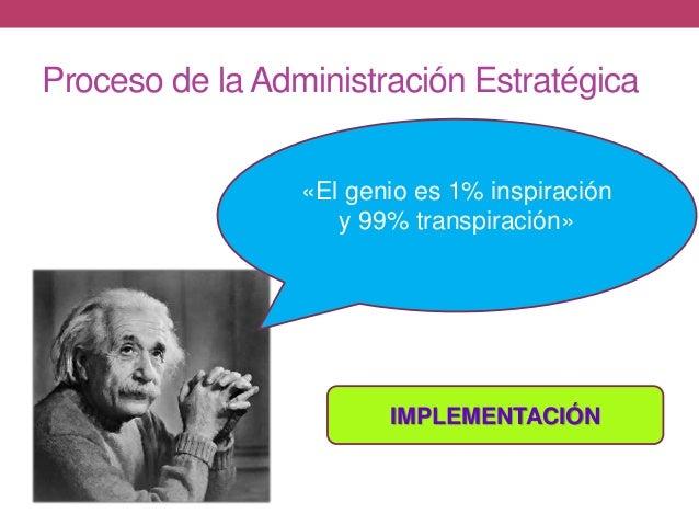 Proceso de la Administración Estratégica «El genio es 1% inspiración y 99% transpiración» IMPLEMENTACIÓN
