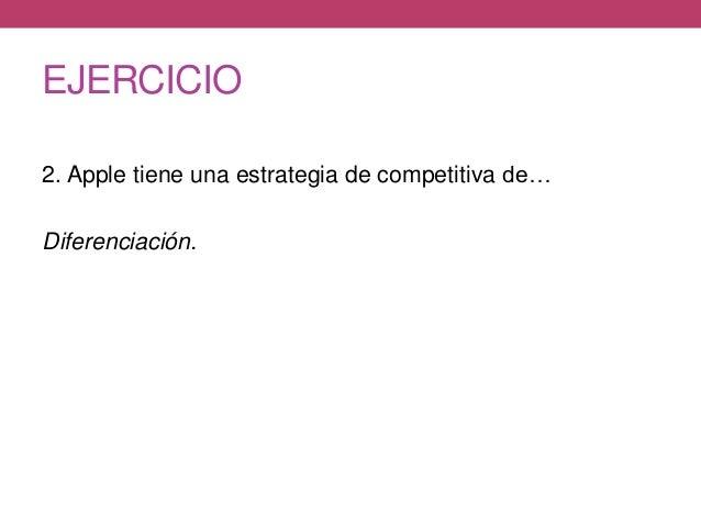 EJERCICIO 2. Apple tiene una estrategia de competitiva de… Diferenciación.