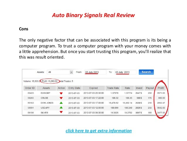 Using quantum binary signals autotrader
