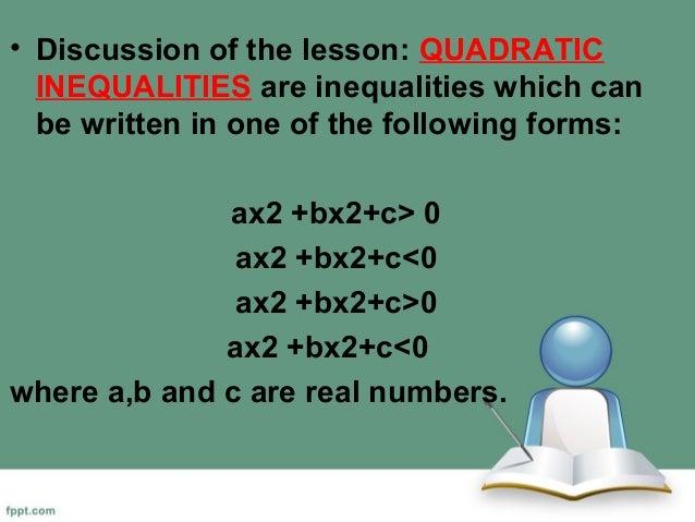 Grade Mathematics: Quadratic Inequalities