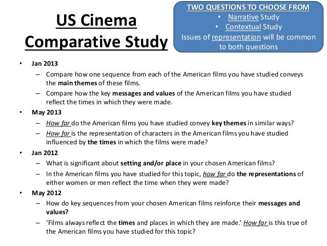 US Cinema Comparative Study • Jan 2013 – Compare how one sequence from each of the American films you have studied conveys...