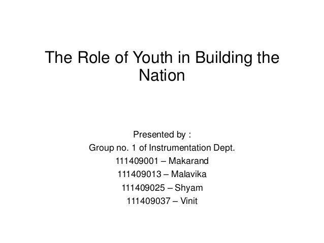 write an article on the role of youth in building a new india