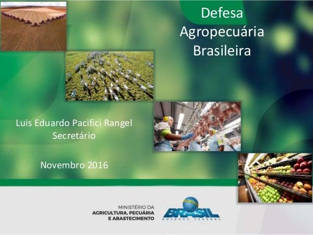 Defesa Agropecuária Brasileira Luis Eduardo Pacifici Rangel Secretário Novembro 2016