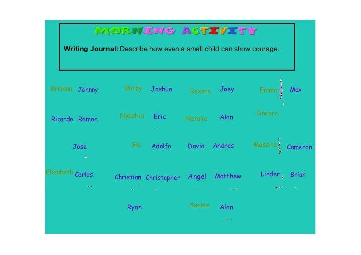 WritingJournal:Describehowevenasmallchildcanshowcourage. Brianna Johnny         Mitzy    Joshua       Roxana    ...