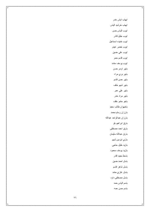 26 خدر اياس ايهاب الياس خرشيد ايهاب حسن الياس ايوب قادر جليل ايوب اسماعيل خديده ايوب عيدو ...