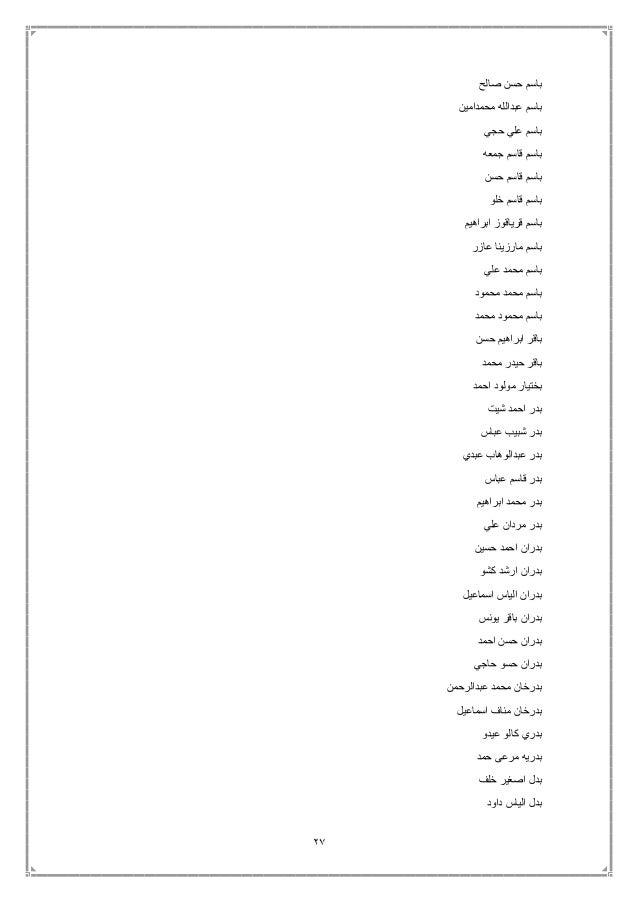 27 صالح حسن باسم محمدامين عبدالله باسم حجي علي باسم جمعه قاسم باسم حسن قاسم باسم خلو قاسم...