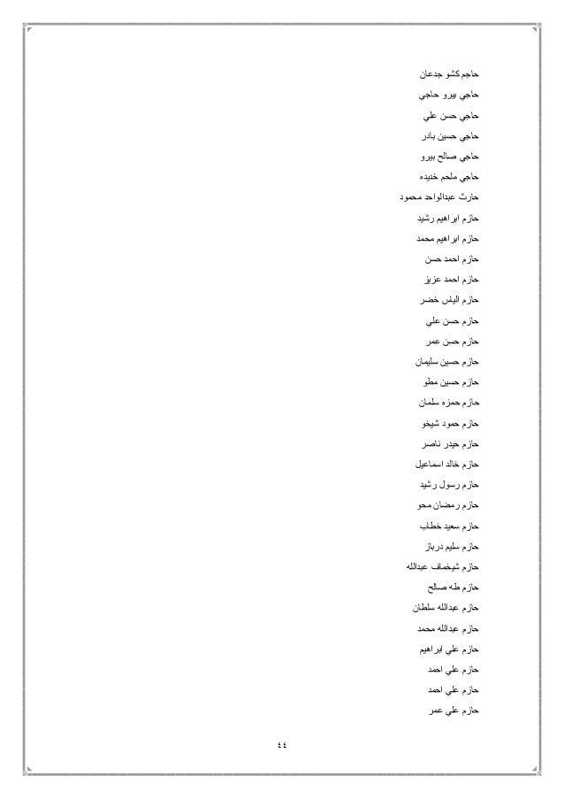 44 جدعان كشو حاجم حاجي بيرو حاجي علي حسن حاجي بادر حسين حاجي بيرو صالح حاجي خديده ملحم ...
