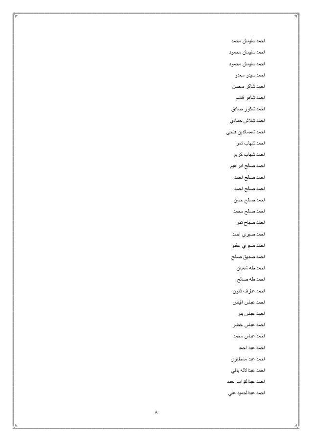 8 محمد سليمان احمد محمود سليمان احمد محمود سليمان احمد سعدو سيدو احمد محسن شاكر احمد قاسم ...