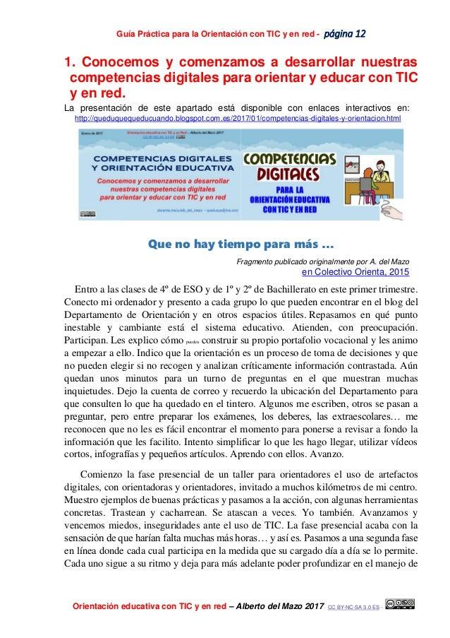 Guía Práctica para la Orientación con TIC y en red - página 12 Orientación educativa con TIC y en red – Alberto del Mazo 2...