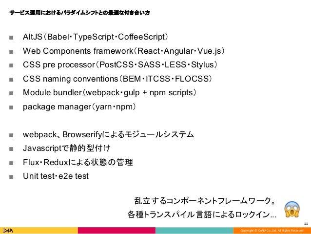 Copyright © DeNA Co.,Ltd. All Rights Reserved. 11 ■ AltJS(Babel・TypeScript・CoffeeScript) ■ Web Components framework(React・...