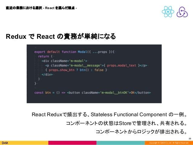 Copyright © DeNA Co.,Ltd. All Rights Reserved. 23 Redux で React の責務が単純になる 直近の業務における選択 - React を選んだ観点 - React Reduxで頻出する、St...