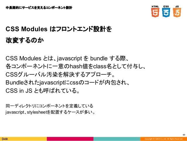 Copyright © DeNA Co.,Ltd. All Rights Reserved. 63 CSS Modules はフロントエンド設計を 改変するのか CSS Modules とは、javascript を bundle する際、 各...